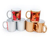 Metallic-Silver/Metallic Gold Ceramic Sublimation Mug 11oz