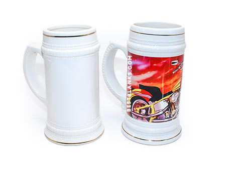 White Ceramic Sublimation Stein w/ Gold Trim 22oz