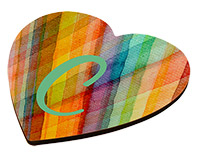 "Unisub Heart Shaped Hardboard Coaster - 3.8""x4""x.125"" with Cork Bottom and Black Edges"