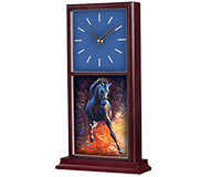 "Unisub Mahogany Mantle Desk Clock - 15.5"" x 6.75"""