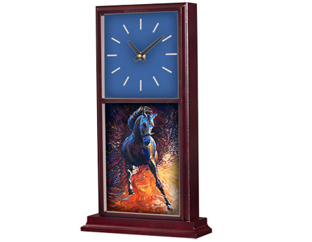 "Unisub Mahogany Mantle Desk Clock - 15.5"" x 6.75"""