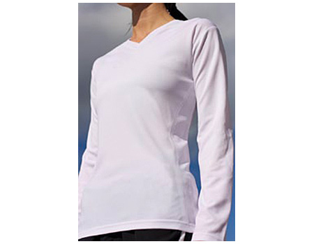 Vapor Apparel Ladies Eco Running V Neck Long Sleeve Shirt