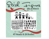 Vinyl Ready Designs Stick Figures - Mix and Match- 47 heads, 28 bodies