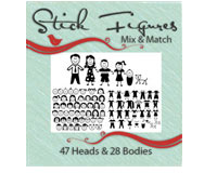 Vinyl Ready Designs Stick Figures 2 - Mix and Match- 35 heads, 35 bodies