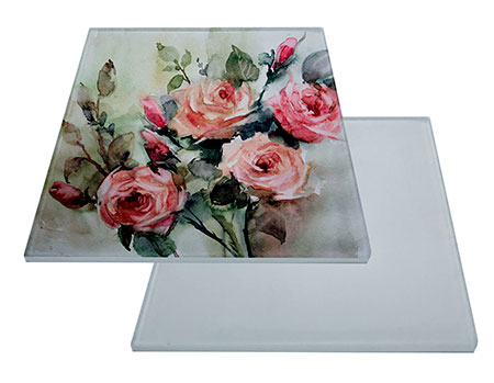 "Glass Sublimation Tile 6""x8"" with White Backing"