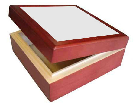 "Rosewood Deluxe Hinged Box - Holds 4.25"" Tile"