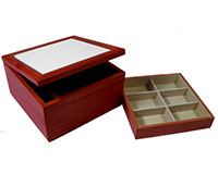 "Rosewood Jewelry Box - Holds 6"" Tile"