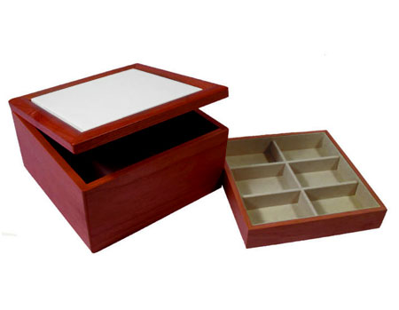 """Rosewood Jewelry Box - Holds 6"""" Tile"""