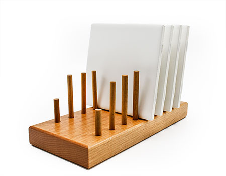 Wood Tile Display Holder Stand Holds 7 Tiles Holds Most